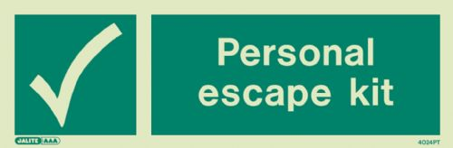 Jalite Personal Escape Kit Sign (4024)